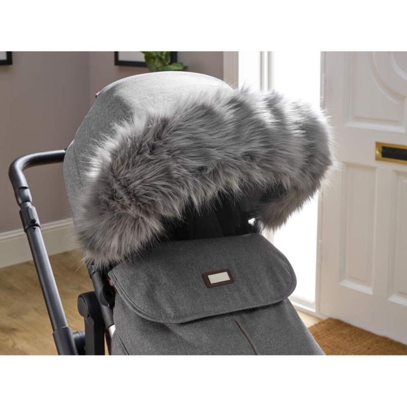 Clair De Lune Universal Pushchair/Stroller Faux Fur Hood- Grey