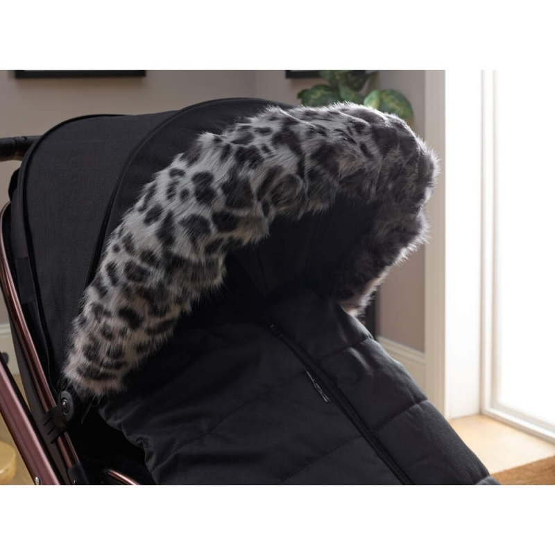 Clair De Lune Universal Pushchair/Stroller Faux Fur Hood- Leopard