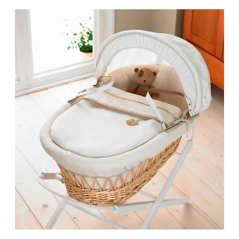 IzziWotNot Light/Natural Wicker Moses Basket-Cream Gift + INCL Stand!