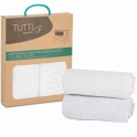 Tutti Bambini CoZee Bedside Crib Fitted Sheets 2 Pack-Grey/Cloud