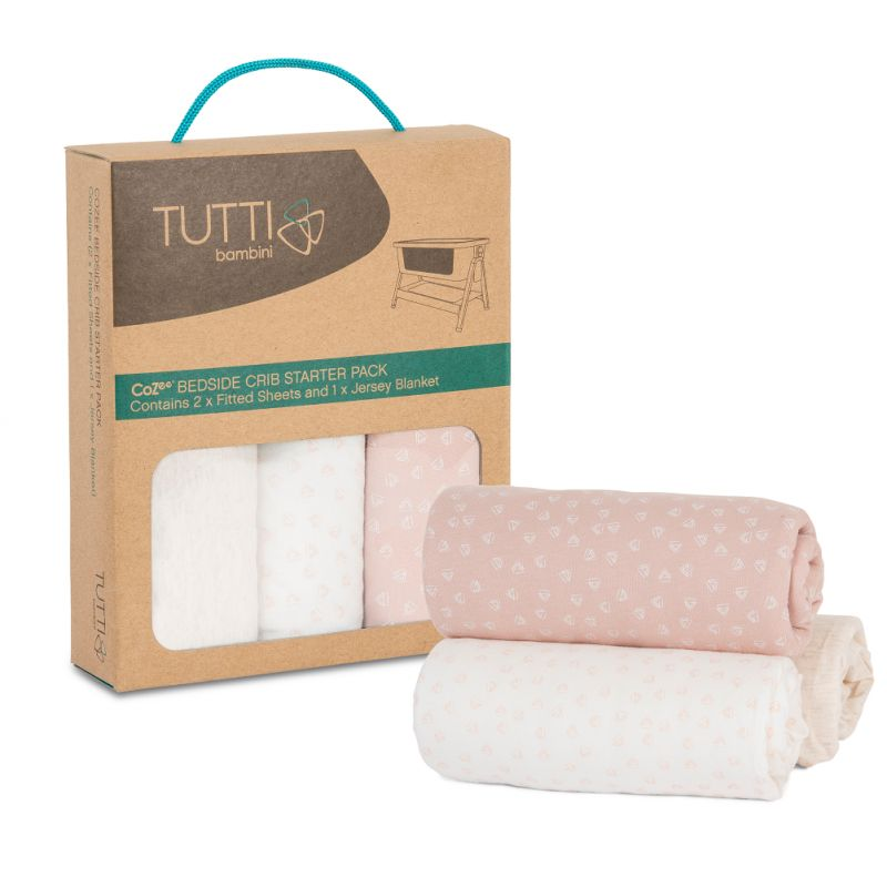 Tutti Bambini CoZee Bedside Crib Starter Set-Pink/Rose