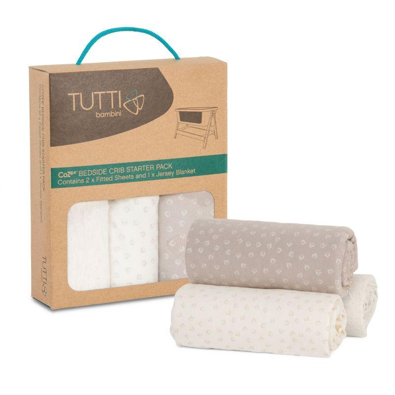 Tutti Bambini CoZee Bedside Crib Starter Set-Neutral/Pebble