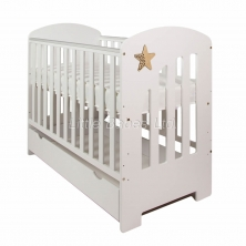 Little Babes Nell Cot with Under Bed Draw-White