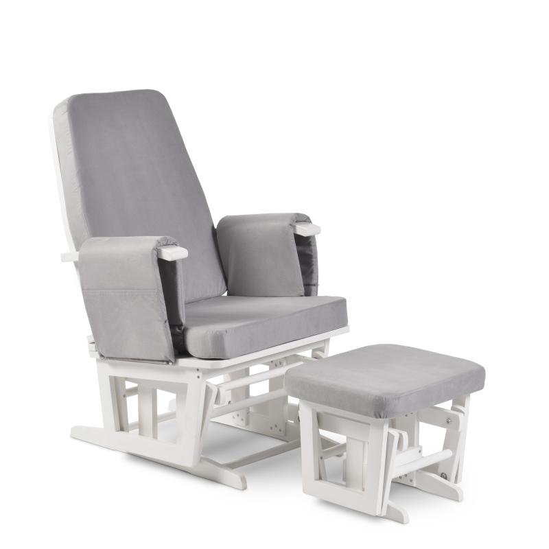 Babyhoot Bilsby Glider Chair and Stool- White/Grey