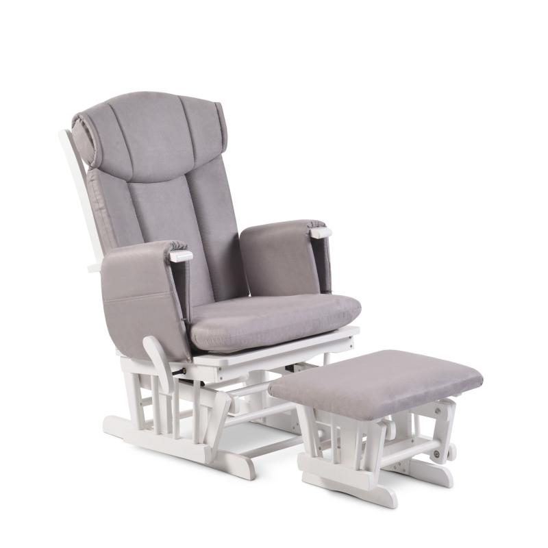 Babyhoot Carlton Glider Chair and Stool- White/Grey