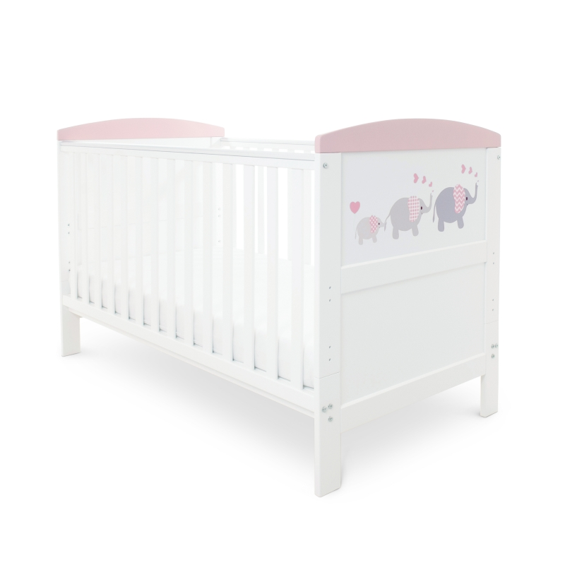Ickle Bubba Coleby Style Cot Bed- Elephant Pink