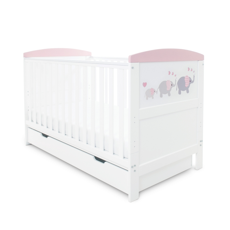 Ickle Bubba Coleby Style Cot Bed & Under Drawer- Elephant Pink