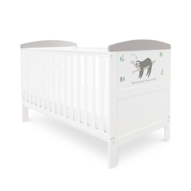 Ickle Bubba Coleby Style Cot Bed & Foam Mattress- Sloth Grey