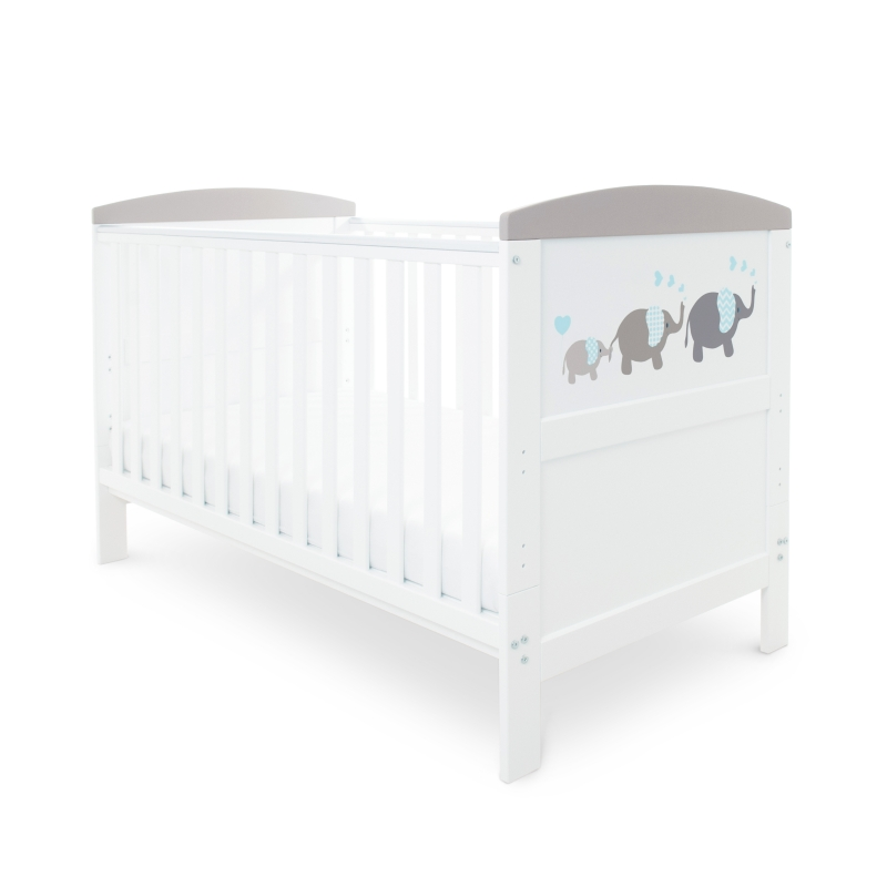 Ickle Bubba Coleby Style Cot Bed & Sprung Mattress - Elephant Grey