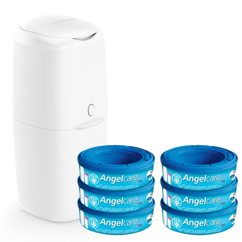 Angelcare Nappy Disposal System With 6 Pack Refill Cassettes-White
