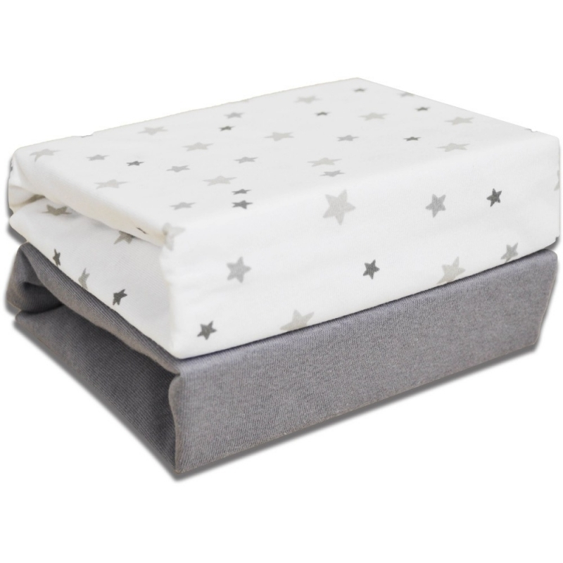 Kiddies Kingdom Deluxe 2 Pack Cotbed Jersey Fitted Sheet-Magical Stars (142 x 70)