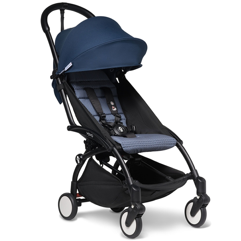 BABYZEN YOYO 2 Black Frame 6+ Stroller-Air France Blue (New)