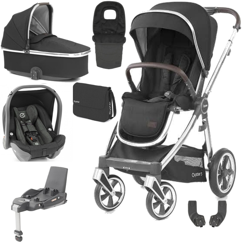 BabyStyle Oyster 3 Mirror Finish Luxury Travel System-Caviar