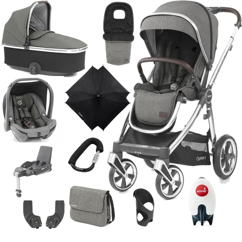 BabyStyle Oyster 3 Mirror Finish Ultimate Travel System-Mercury