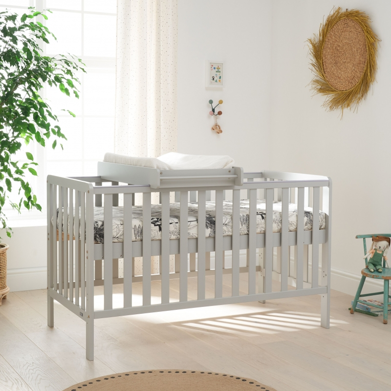 Tutti Bambini Malmo Cot Bed Bundle Including Cot Top Changer & Mattress-Dove Grey