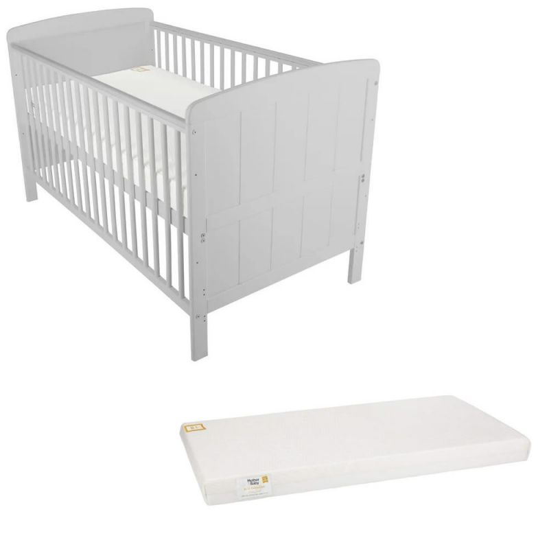 CuddleCo Juliet Cot Bed with Mother & Baby Foam Mattress-Dove Grey