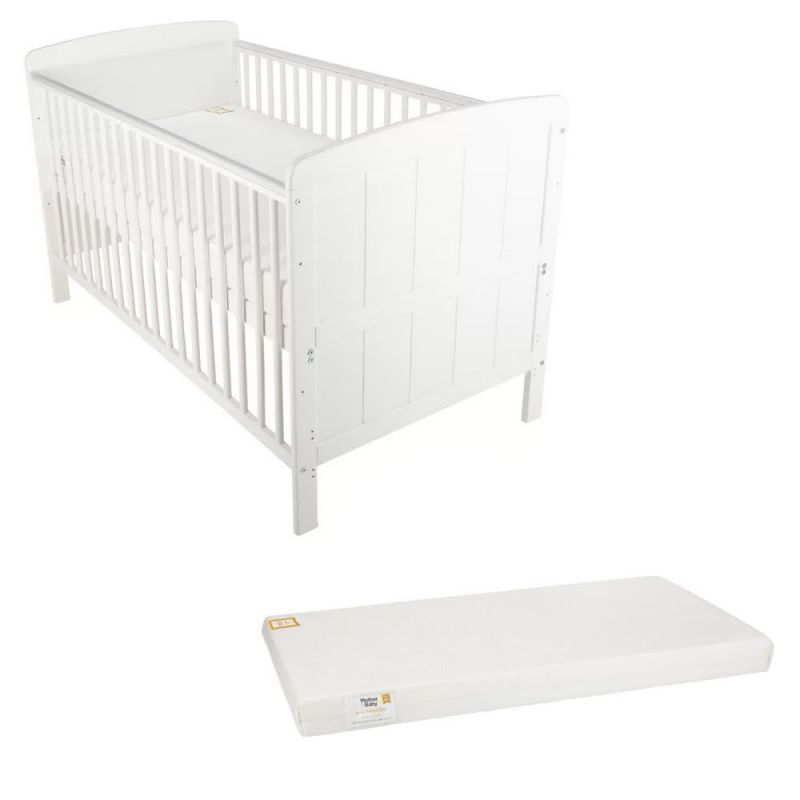 CuddleCo Juliet Cot Bed with Mother & Baby Foam Mattress - White
