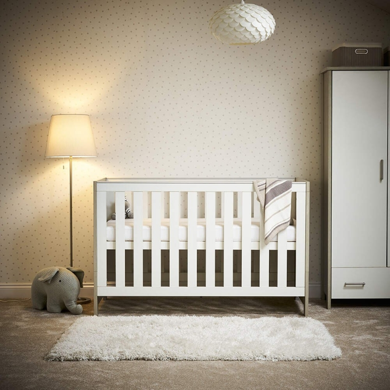 OBaby Nika Cot Bed-Grey Wash and White