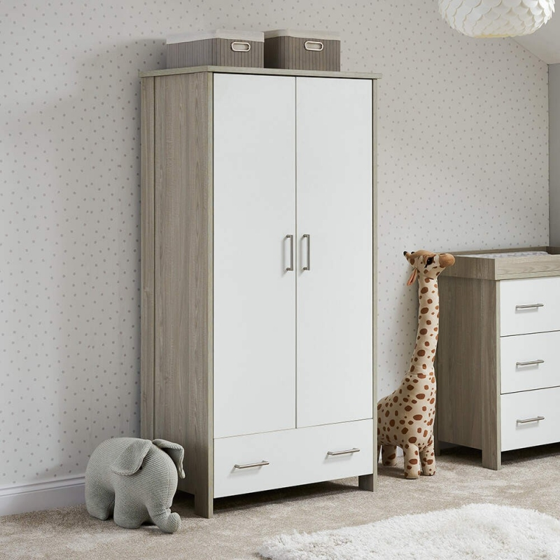 Obaby Nika Double Wardrobe-Grey Wash and White