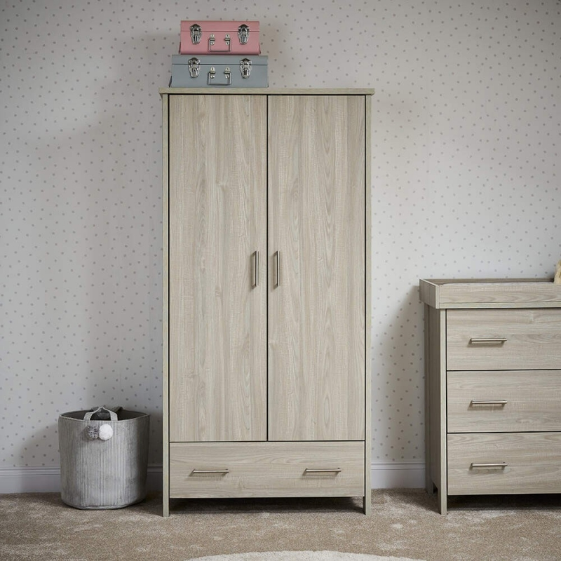 Obaby Nika Double Wardrobe-Grey Wash