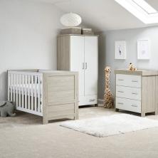 OBaby Nika 3 Piece Room Set-Grey Wash and White