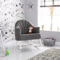 Obaby Round Back Rocking Chair-White with Grey Cushion (NEW)