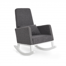 Obaby High Back Rocking Chair-White with Grey Cushion (NEW)