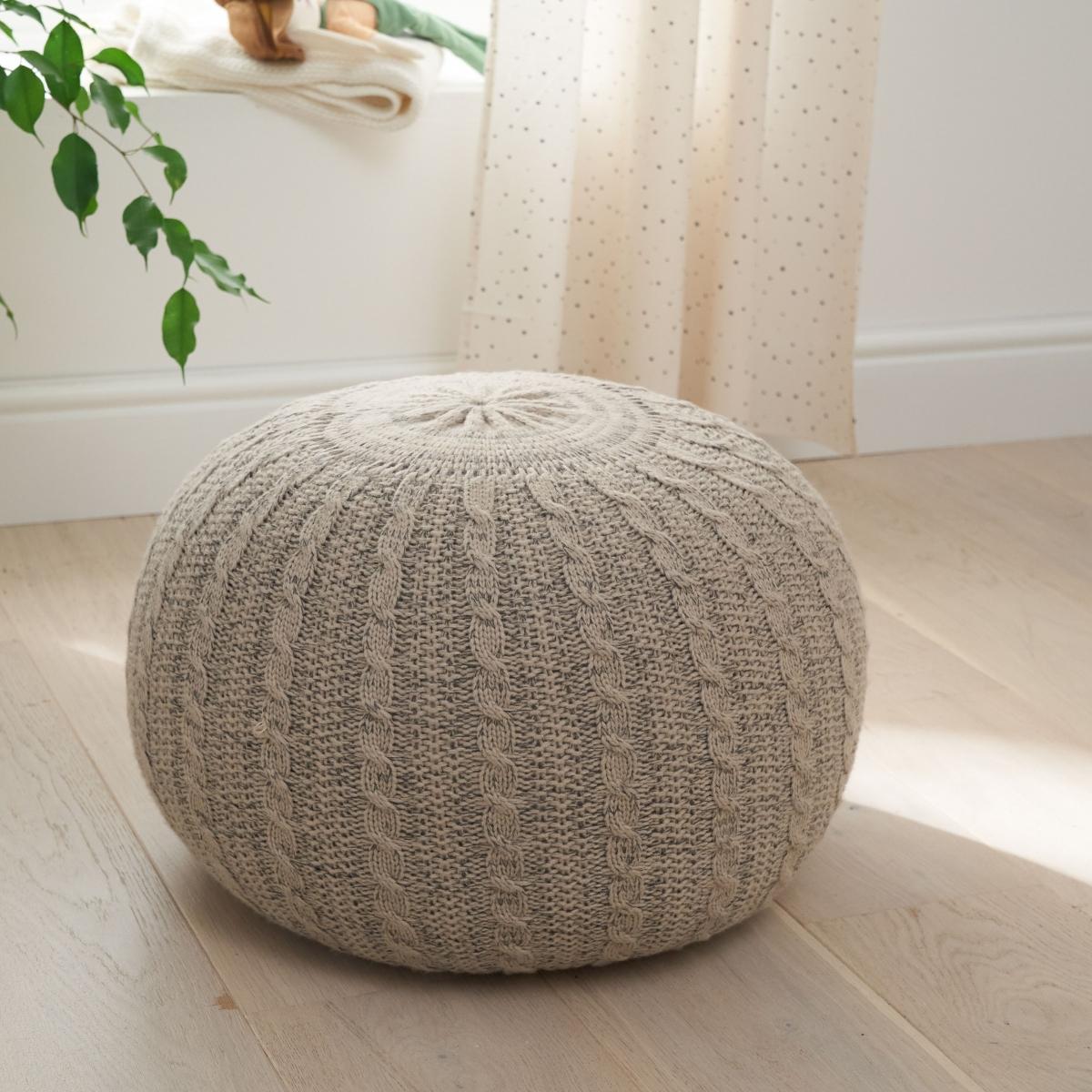 Tutti Bambini Knitted Pouffe Footstool-Stone/Natural