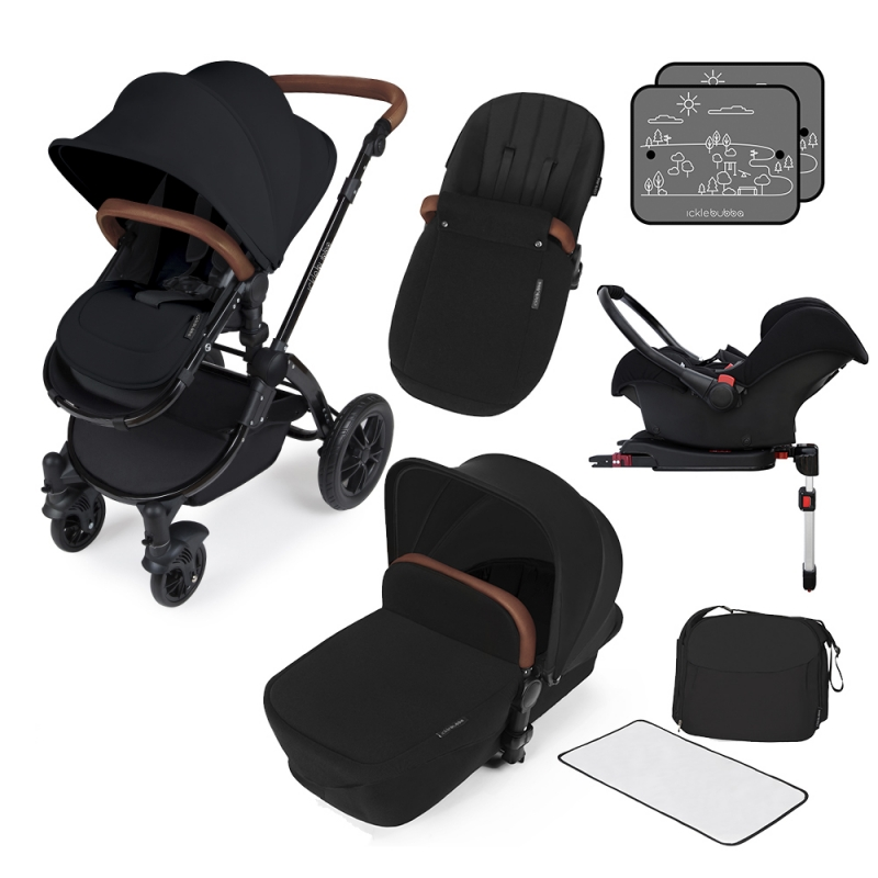Ickle Bubba Stomp V3 Black Frame Travel System With Galaxy Carseat & Isofix Base-Black + FREE Pavel Go Sensor!
