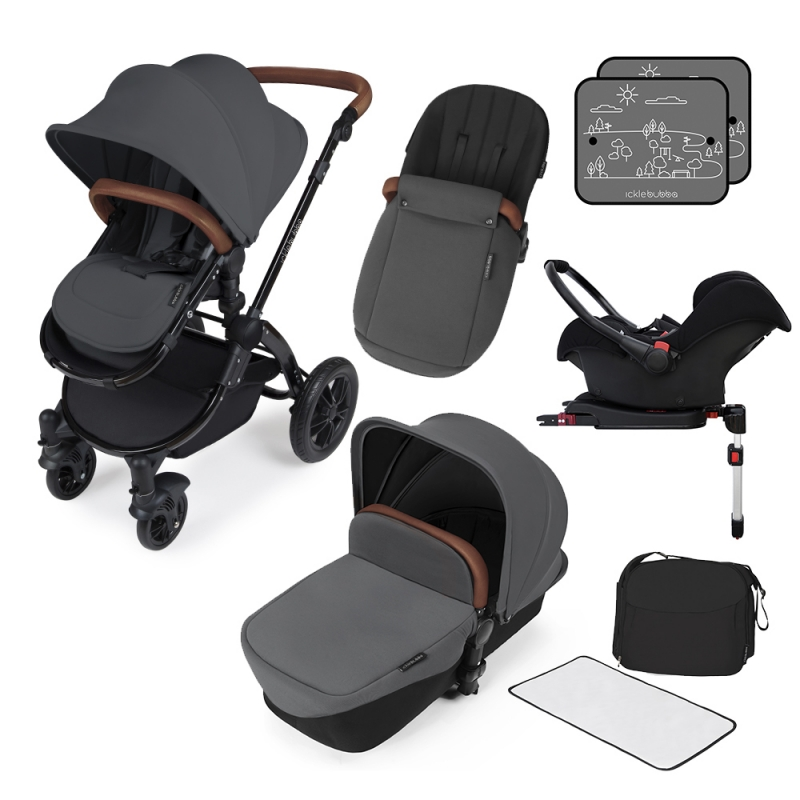Ickle Bubba Stomp V3 Black Frame Travel System With Galaxy Carseat & Isofix Base-Graphite Grey + FREE Pavel Go Sensor!