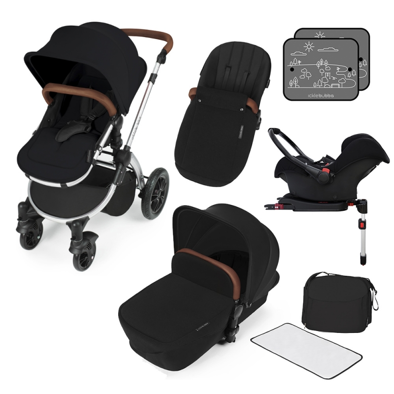 Ickle Bubba Stomp V3 Silver Frame Travel System With Galaxy Carseat & Isofix Base-Black + FREE Pavel Go Sensor!