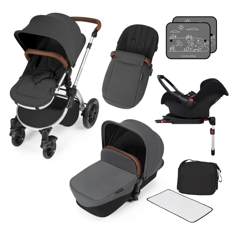 Ickle Bubba Stomp V3 Silver Frame Travel System With Galaxy Carseat & Isofix Base-Graphite Grey + FREE Pavel Go Sensor!