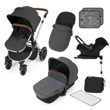 Ickle Bubba Stomp V3 Silver Frame Travel System With Galaxy Carseat & Isofix Base-Graphite Grey