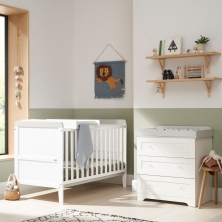 Tutti Bambini Rio 2 Piece Room Set with Cot Top Changer-White & Dove Grey