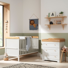 Tutti Bambini Rio 2 Piece Room Set with Cot Top Changer-Dove Grey & Oak