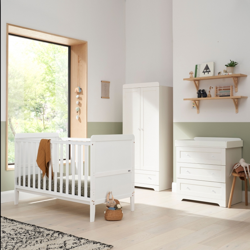 Tutti Bambini Rio 3 Piece Room Set with Cot Top Changer-White