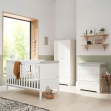 Tutti Bambini Rio 3 Piece Room Set with Cot Top Changer-White & Dove Grey