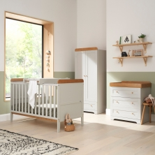 Tutti Bambini Rio 3 Piece Room Set with Cot Top Changer-Dove Grey & Oak