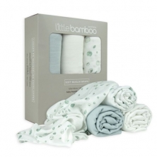 Little Bamboo 3 Pack Muslin Baby Wraps- Whisper (NEW)