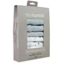 Little Bamboo 6 Pack Muslin Baby Wash Cloths- Whisper (NEW)