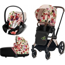 Cybex Priam Spring Blossom Edition Rose Gold Chassis Cloud Z 3in1 Travel System-Light