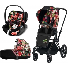 Cybex Priam Spring Blossom Edition Black Chassis Cloud Z 3in1 Travel System-Dark