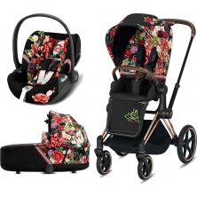 Cybex Priam Spring Blossom Edition Rose Gold Chassis Cloud Z 3in1 Travel System-Dark