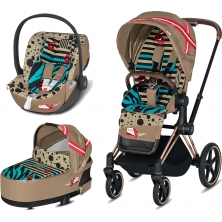 Cybex Priam Karolina Kurkova Edition Rose Gold Chassis Cloud Z 3in1 Travel System-One love/Brown