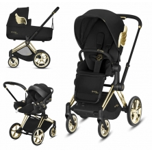 Cybex Priam Jeremy Scott Edition Gold Chassis Cloud Z 3in1 Travel System-Wings/Black