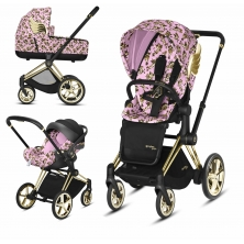 Cybex Priam Jeremy Scott Edition Gold Chassis Cloud Z 3in1 Travel System-Cherub Pink