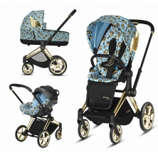 Cybex Priam Jeremy Scott Edition Gold Chassis Cloud Z 3in1 Travel System-Cherub Blue
