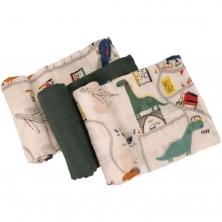 Bizzi Growin Muslin 3PK Diaper Set-Dinoriffic (NEW)