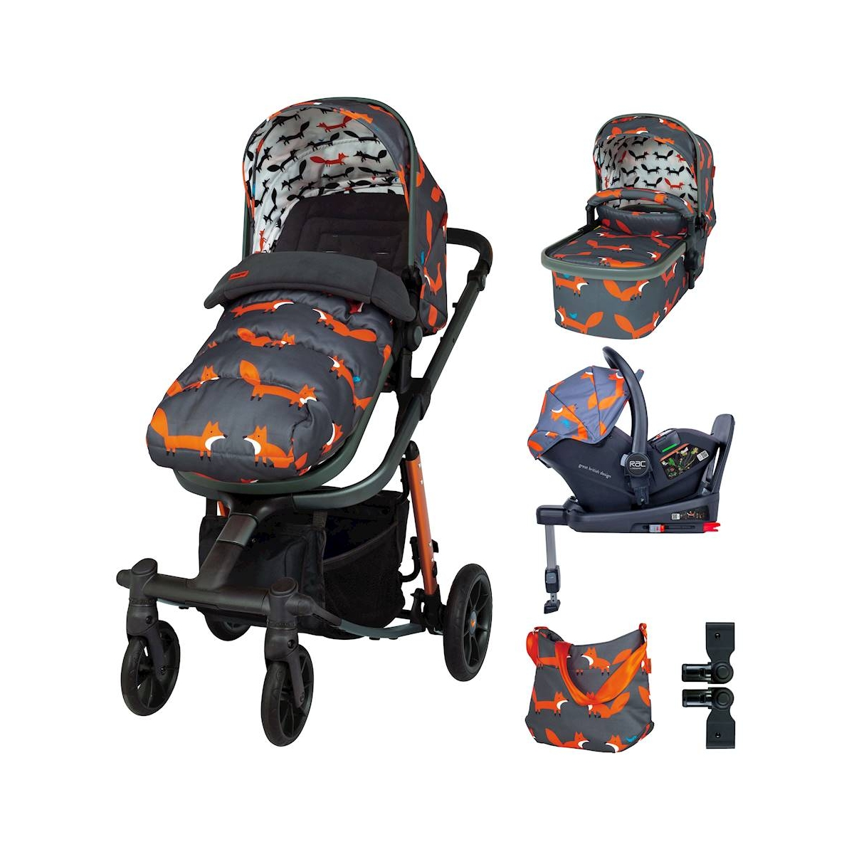 Cosatto Giggle Quad Everything Bundle-Charcoal Mister Fox
