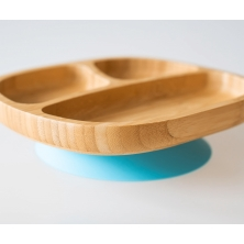 eco rascals Toddler Bamboo Suction Plate-Blue (NEW)